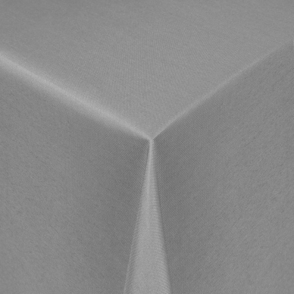 Tischdecken Damast Eckig mit Saum Uni Grau