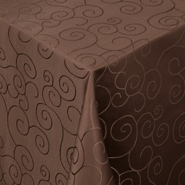 Tischdecken Damast Eckig mit Saum Ornamente Dunkel-Braun