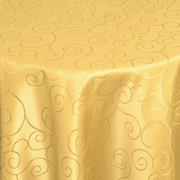 Tischdecken Damast Oval mit Saum Ornamente Dunkel-Gelb