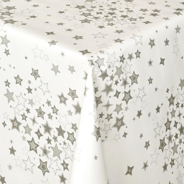 Tischdecke Wachstuch Weihnachten Lebensmittelecht Sterne Weiss Silber