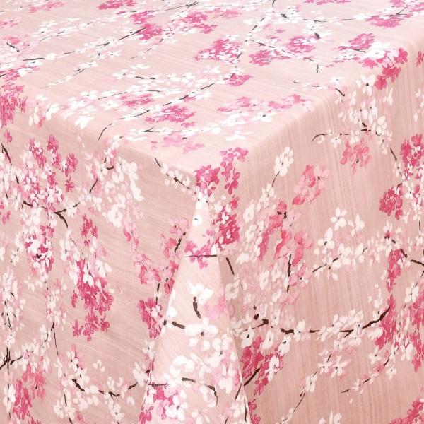 Tischdecken Ravenna 100% Baumwolle Kirschblüten mit Fleckschutz Rosa