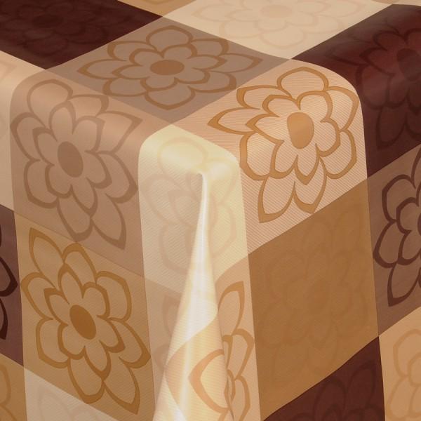 Tischdecke Abwaschbar Wachstuch Blumen Motiv Braun Beige im Wunschmaß