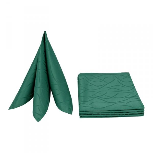 Servietten Damast Streifen 50x50 Dunkel-Grün (6er Pack)