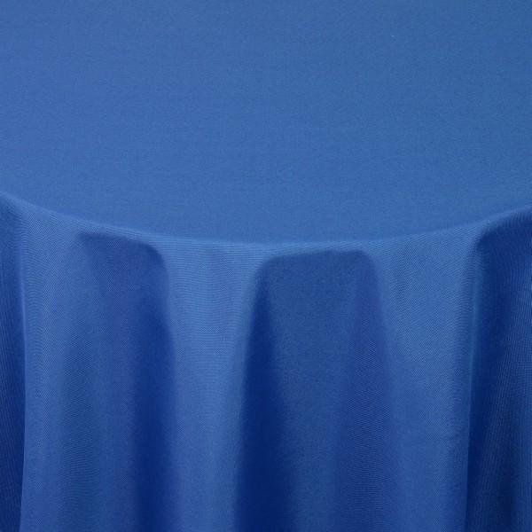 Tischdecken Damast Rund mit Saum Uni Dunkel-Blau