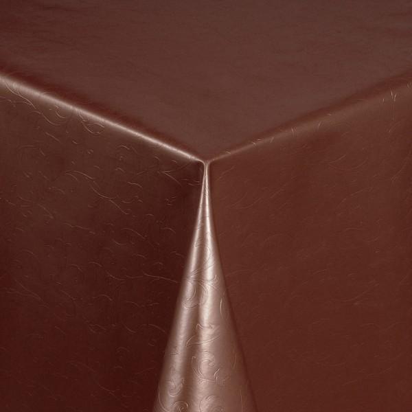 Tischdecke Abwaschbar Wachstuch Relief Blumenkelche Braun im Wunschmaß