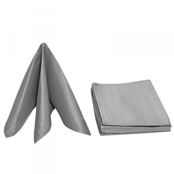 Servietten Damast Punkte 50x50 Grau (6er Pack)