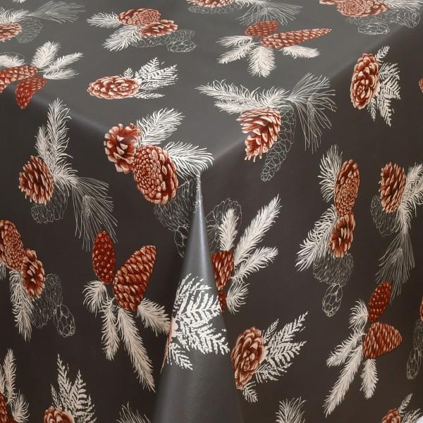 Tischdecke Wachstuch Weihnachten Lebensmittelecht Tannenzapfen Dunkel-Grau