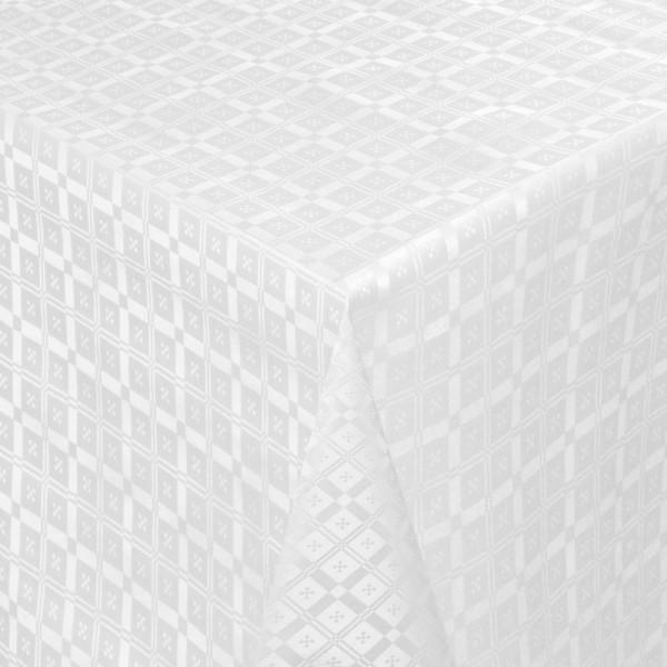 Tischdecke Abwaschbar Wachstuch Relief Quadrato Weiss im Wunschmaß