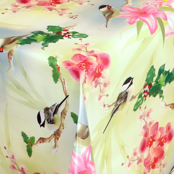 Tischdecke Abwaschbar Wachstuch Lilien und Maisen im Wunschmaß