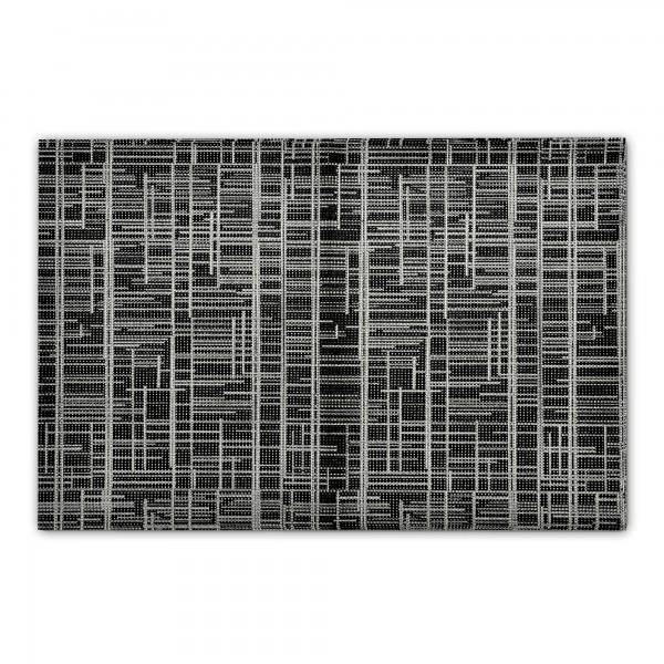 Tischsets mit Gitter Motiv 2er-Set Platzsets 30x45 cm Schwarz-Grau