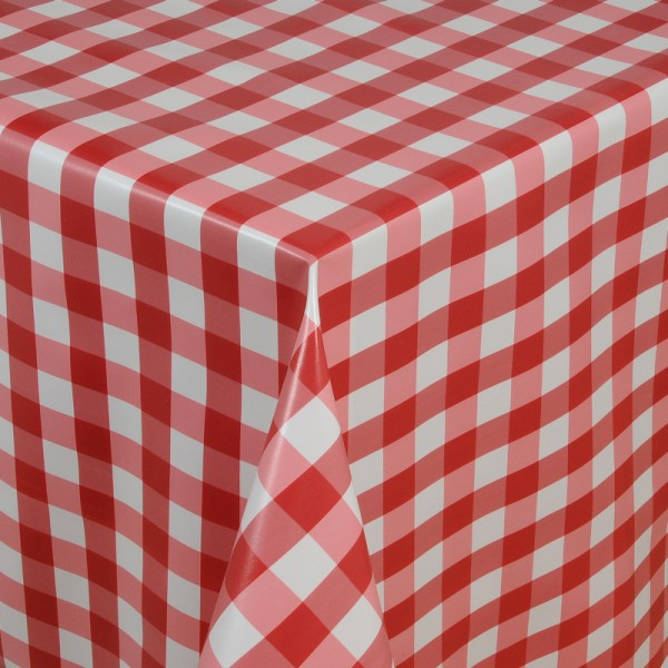 Tischdecke Abwaschbar Wachstuch Quadrate Motiv in Rot Weiss