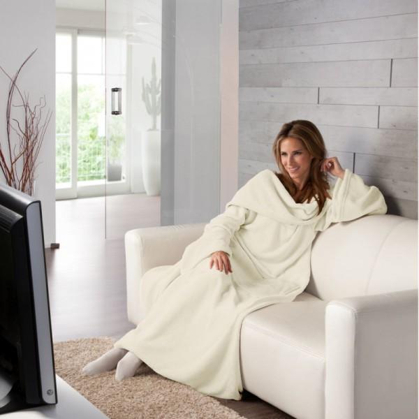 XXL Super Soft Kuscheldecke mit Ärmeln TV Decke in Creme-Champagner