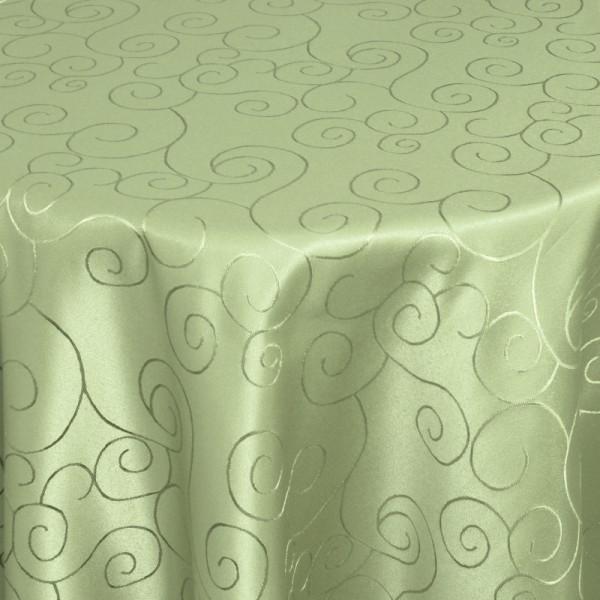 Tischdecken Damast Rund mit Saum Ornamente Lind-Grün