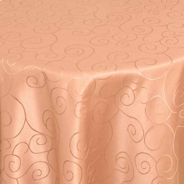 Tischdecken Damast Oval mit Saum Ornamente Apricot