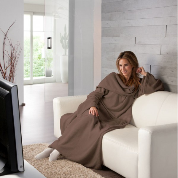 XXL Super Soft Kuscheldecke mit Ärmeln TV Decke in Braun