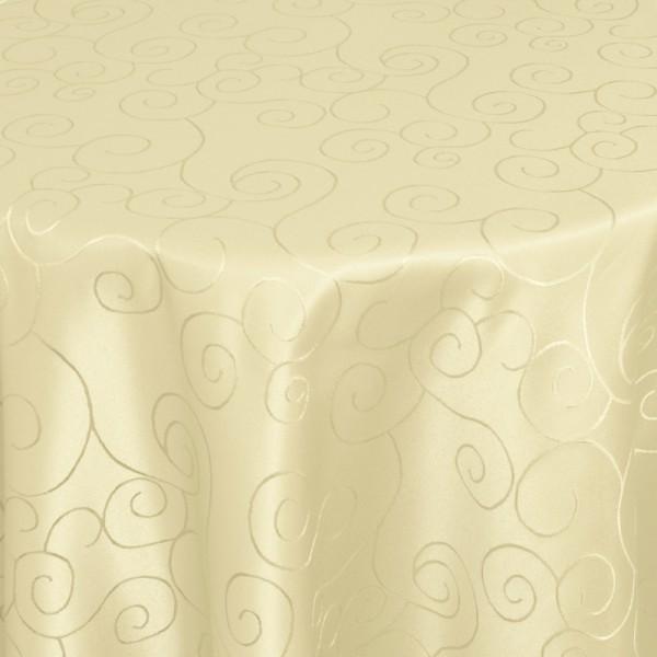 Tischdecken Damast Rund mit Saum Ornamente Creme-Beige