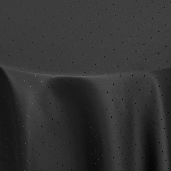 Tischdecken Damast Oval mit Saum Punkte Schwarz