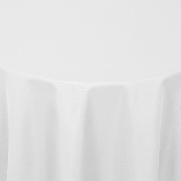 Tischdecken Damast Rund mit Saum Uni Weiss