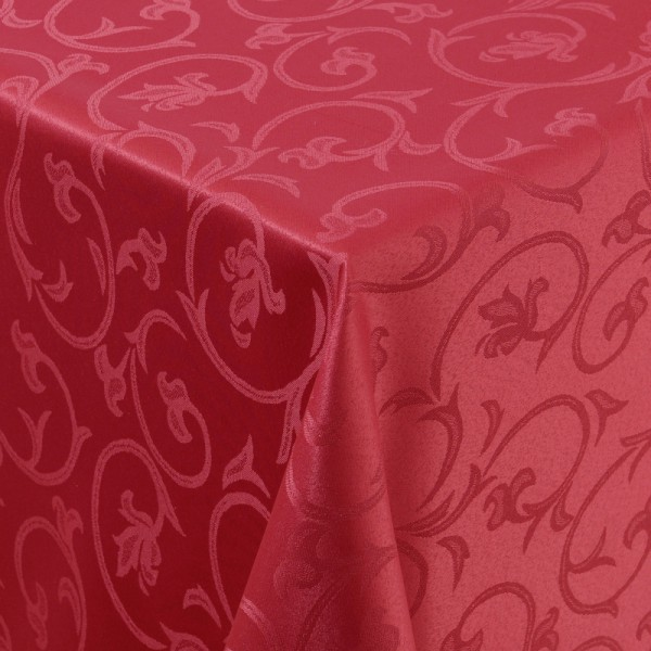 Tischdecken Damast Eckig mit Saum Barock Wein-Rot