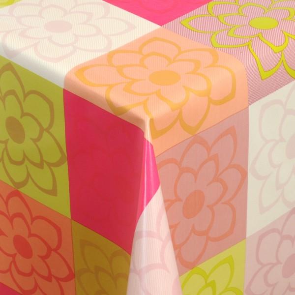 Tischdecke Abwaschbar Wachstuch Blumen Motiv Pink Grün im Wunschmaß