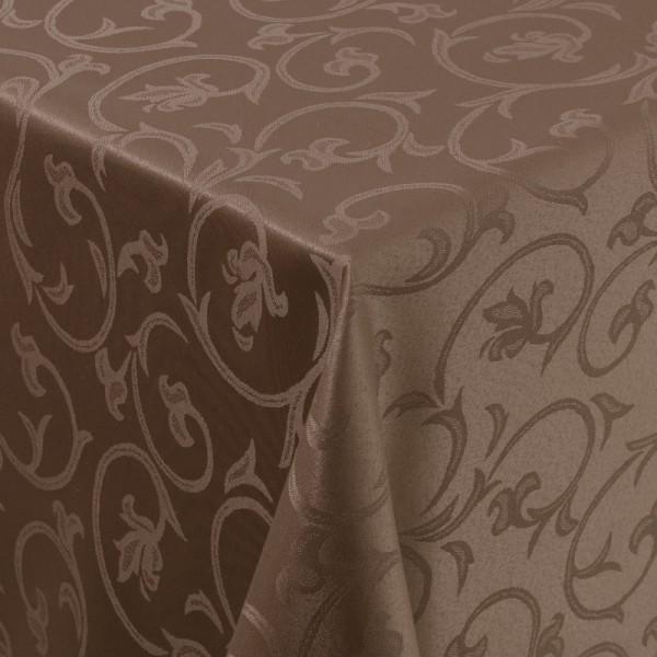 Tischdecken Damast Eckig mit Saum Barock Dunkel-Braun