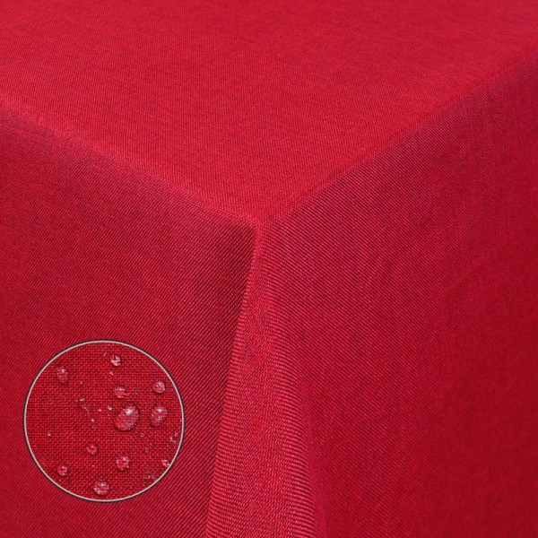 Tischdecken Damast Eckig Leinen Meliert wasserabweisend Rot