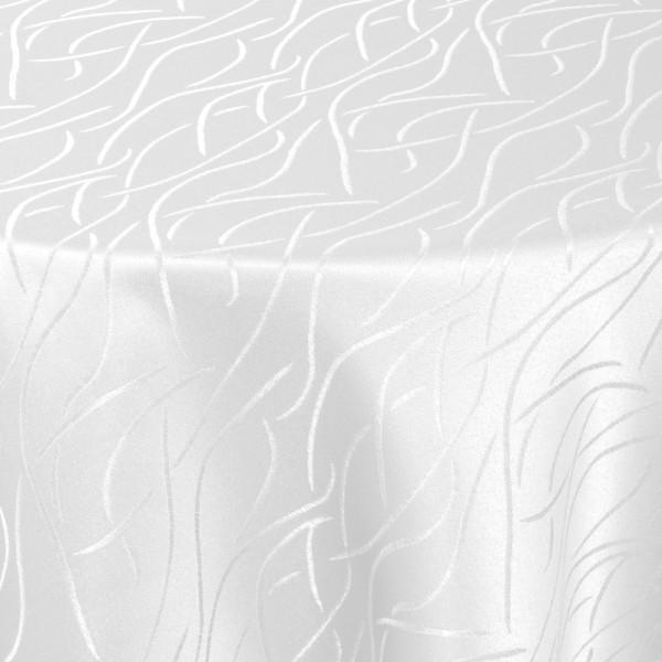 Tischdecken Damast Rund mit Saum Streifen Weiss
