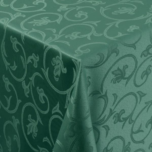 Tischdecken Damast Eckig mit Saum Barock Dunkel-Grün