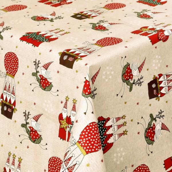 Tischdecke Wachstuch Weihnachten Lebensmittelecht Wichtel Beige Rot