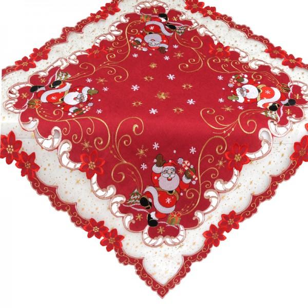 Tischdecke Mitteldecke Aufleger Organza mit Stickerei in Rot