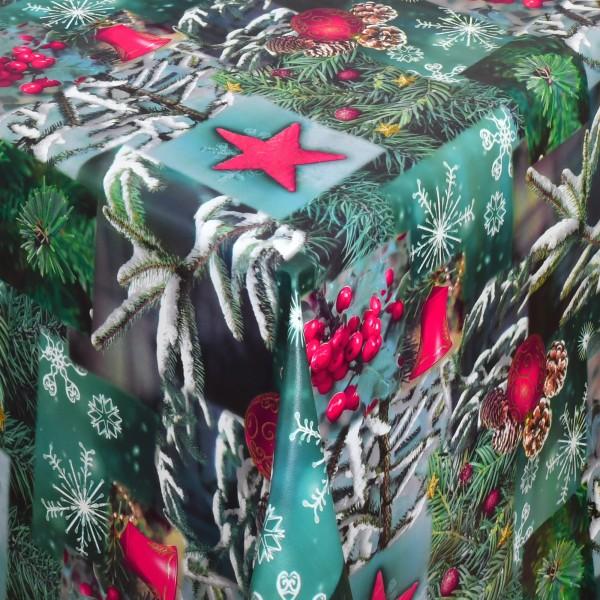 Tischdecke Wachstuch Weihnachten Lebensmittelecht Tannenzweige Grün