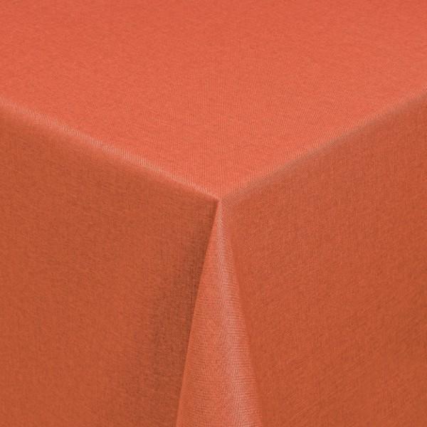Tischdecken Damast Eckig mit Saum Leinen-Optik Orange