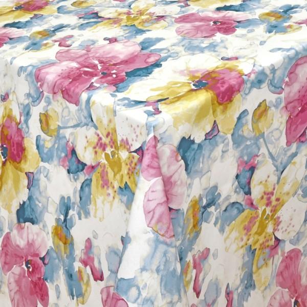 Tischdecken Ercolano 100% Baumwolle bunte Blumen mit Fleckschutz