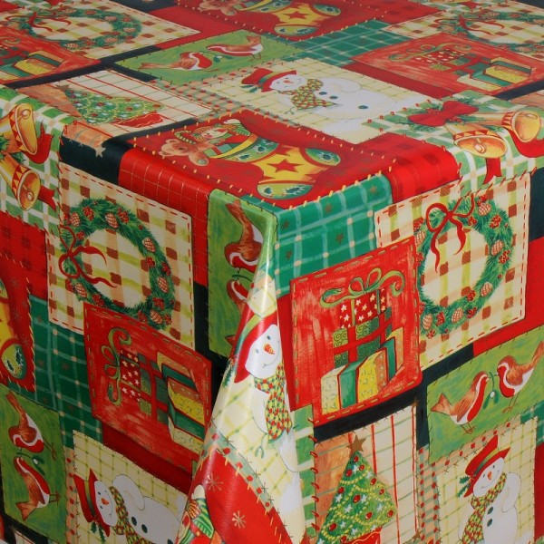 Tischdecke Abwaschbar Wachstuch Weihnachten Advent Grün Rot Wunschmaß