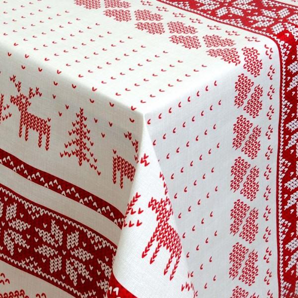 Tischdecke Abwaschbar Wachstuch Weihnachten Hirsch-Motiv Rot Wunschmaß