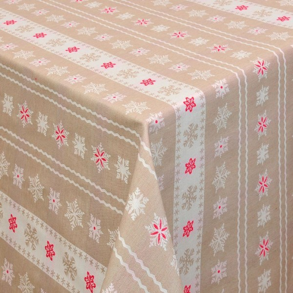 Tischdecken Weihnachten Jacquard-Gewebe mit Fleckschutz und Saum Coslada in Beig