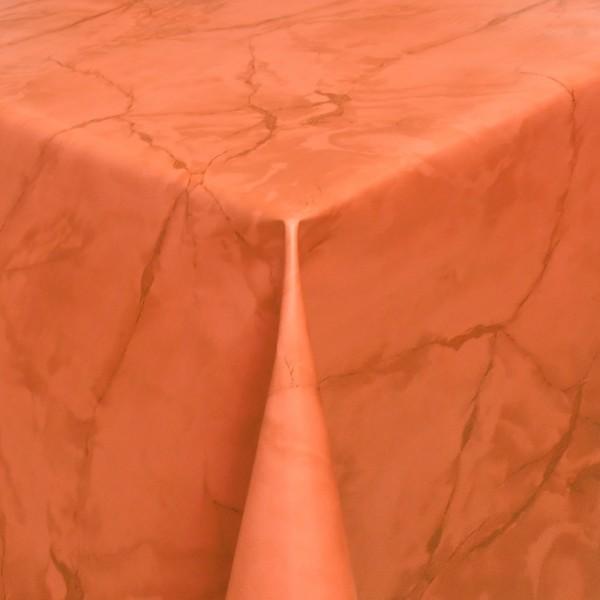 Tischdecke Abwaschbar Wachstuch Lebensmittelecht Marmor Orange-Terra
