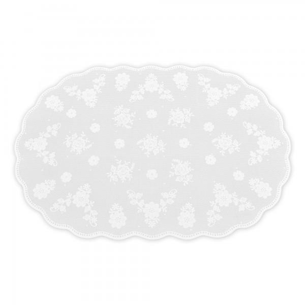 Tischsets Blumen Motiv 6er-Set Platzsets 32x46 cm in Weiss