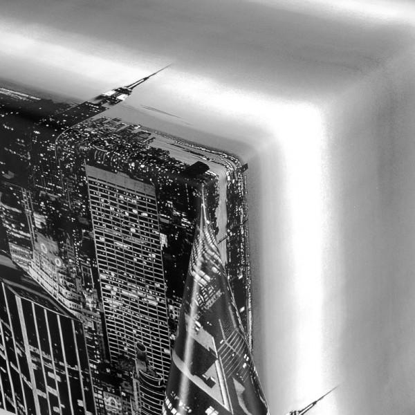Tischdecke Abwaschbar Wachstuch Skyline Schwarz Weiss im Wunschmaß