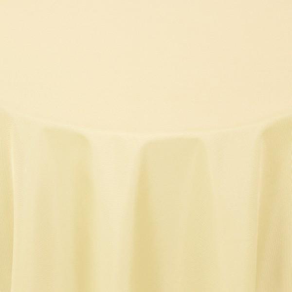 Tischdecken Damast Rund mit Saum Uni Creme-Beige