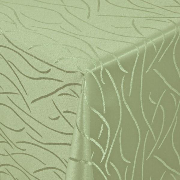 Tischdecken Damast Eckig mit Saum Streifen Lind-Grün