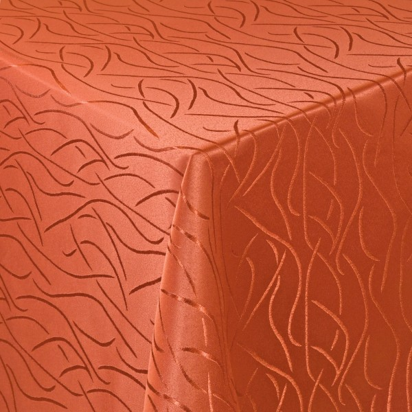 Tischdecken Damast Eckig mit Saum Streifen Orange