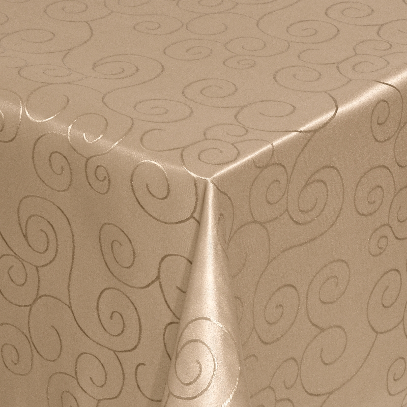 tischdecken damast eckig mit saum ornamente hell braun. Black Bedroom Furniture Sets. Home Design Ideas