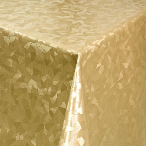 Tischdecke Abwaschbar Wachstuch Relief Dreiecke Gold im Wunschmaß