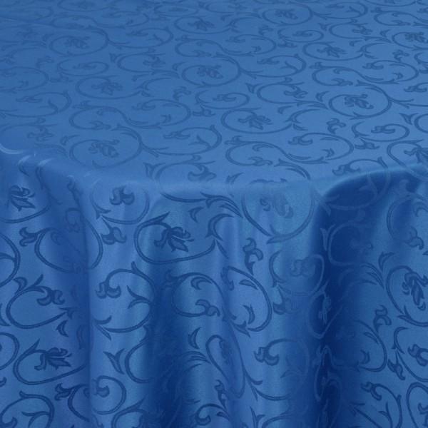 Tischdecken Damast Oval mit Saum Barock Dunkel-Blau