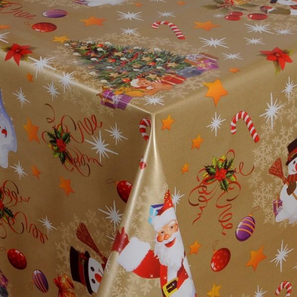 Tischdecke Abwaschbar Wachstuch Weihnacht Zuckerstange Gold Wunschmaß