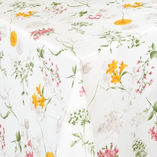 Tischdecken Messina mit Blumen Motiv und Fleckschutz in Weiss
