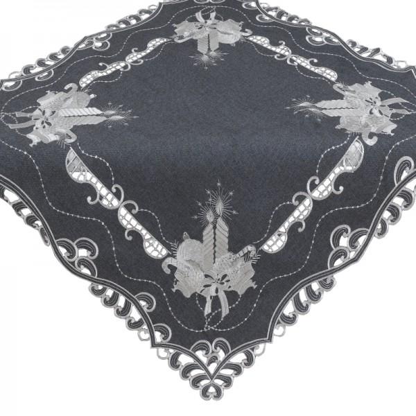 Tischdecke Mitteldecke Aufleger mit Stickerei in Grau