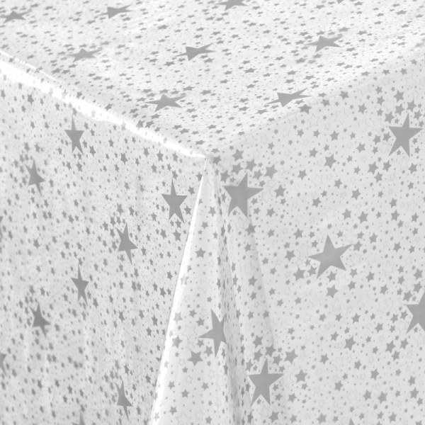Schutz Tischdecke transparent durchsichtig Meterware mit Sternen in Silber