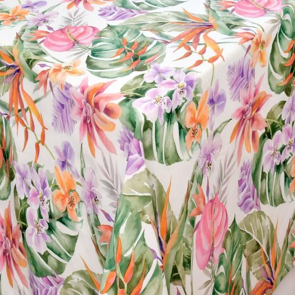 Tischdecken Catania 100% Baumwolle Orchideen in Orange mit Fleckschutz